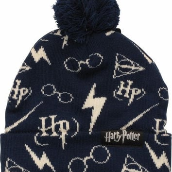 HARRY POTTER SYMBOLS ALL OVER PRINT POM BEANIE