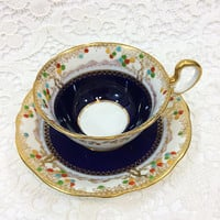 Aynsley Tea Cup and Saucer, Art Deco Tea Cup, Blue & Gold, Asian Motifs, 1920s, Jeweled / Beaded Cup, English Tea Cup, Antique