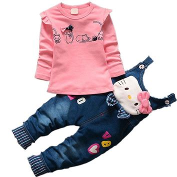 Baby Girls Hello Kitty Clothing Sets Children Denim overalls Bow Jeans Pants T Shirt Twinset Kids Minnie Tops Tees Clothes Set