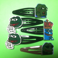 Meme Hair Clips: Pepe The Frog
