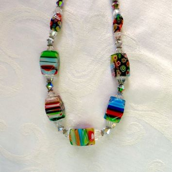Vintage Millefiori Necklace, Chunky Art Glass Murano Bead Necklace, Rainbow of Color, Vintage Venetian Jewelry