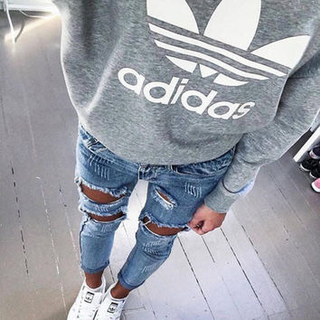 "Women Fashion ""Adidas"" Letter Print Pullover Tops Sweater Sweatshirts"