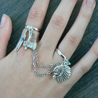 Tribal chained double ring native american inspired double slave ring in fantasy native tribal hipster boho gypsy fusion  style