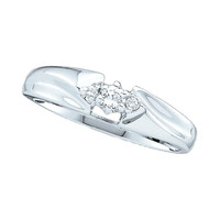 Round Diamond Ladies Fashion Promise Ring in 14k White Gold 0.1 ctw