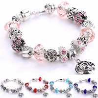 Bead and Silver Carvings Bracelet