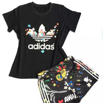 Adidas Print Short Sleeve T-Shirt Shorts Two-Piece Set