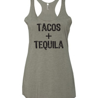 Tacos & Tequila Racerback Triblend Tank Top
