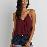 AEO Wrap Front Cami, Burgundy