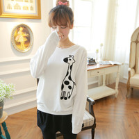 Autumn Korean version of the new cartoon loose round neck sweater