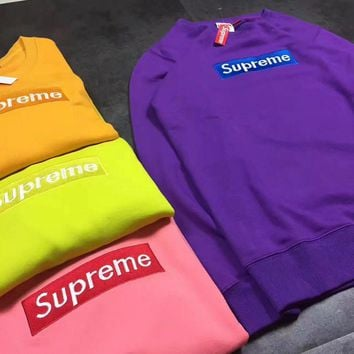 SUPREME Fashion Casual Embroider round collar Long Sleeve sweater