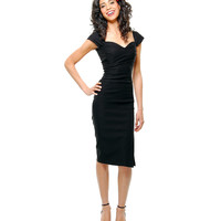 BEST SELLER! STOP STARING! MAD MEN Black Pleated Bodice Cap Sleeve Wiggle Dress - S to 3XL - Unique Vintage - Cocktail, Pinup, Holiday & Prom Dresses.