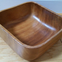 Vintage Square Monkey Pod Wood Salad Bowl