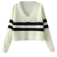 V-neck Cropped Loose Stripe Sweater