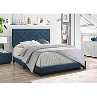 """Queen Size Bed - 64"""" X 86"""" X 50"""" Dark Teal Fabric Upholstered (Bed) Wood Leg Queen Bed"""