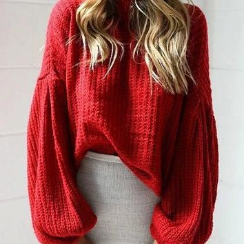 Red Drop Shoulder Puff Sleeve Knit Sweater