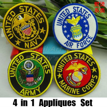 4 designs 8.3cm Army Iron On Patches appliques set Made of Cloth Guaranteed 100% Quality Appliques free shipping1424