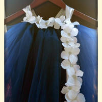 Navy blue Tulle Flower Girl Tutu Dress / Junior Bridesmaid Dress / Pageant Dress / Junior bridesmaid Navy Christening Gown