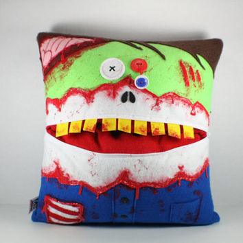 Custom Zombie Pillow with a Zipper Pocket Mouth and Button Eyes-Geek Decor-Home Decor-Walking Dead-Horror-Couch Pillow-Adult-Kids-Fun