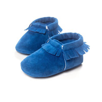 Suede Leather Shoes Newborn Baby Boy Girl Baby bow Moccasins Soft Moccs Shoes Bebe Fringe Soft Sole Non-slip Footwear Crib Shoe