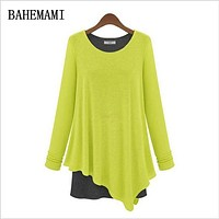 BAHEMAMI Spring Clothing Maternity Pregnant Dresses Casual Faux Two Piece Knitted Basic Shirt Twinset Clothes For Pregnant Women
