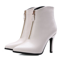 Black Zipper 2016 Sexy PU Leather Women Shoes Pointed Toe Thin High Heel Ankle Boot Women Motorcycle Boot Size 34-43