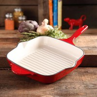 "The Pioneer Woman Timeless Square Cast Iron 10.25"" Cast Iron Enamel Grill Pan - Walmart.com"