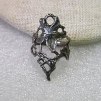 Vintage Sterling Silver Lily Vine Wide Band Woodland Style Ring, Gothic/Bojo, sz. 7, 4.39 gr.