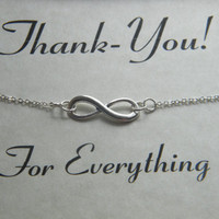 Infinity Bracelet, Personalized Thank-You Gift, Thank-You Card