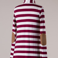 Knit Striped Cardigan with Elbow Patches - Burgundy
