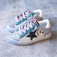 Kids Shoes 2017 Fashion Shiny Sequins Children Shoes Girls Star Sneakers Side zipper Boys Sport Shoes Child Casual Shoes