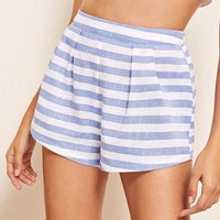 Two Tone Striped Fold Pleat Shorts