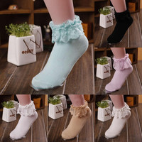 1 Pair 7 Colors Trendy Princess Girl Sweet Women Ladies Lace Ruffle Frilly Cotton Solid Casual Standard Ankle Socks Chaussette