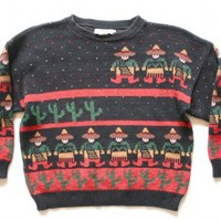"""Shop Now! Ugly Sweaters: """"Space Invader Maricachis"""" Vintage 80s Tacky Ugly Sweater Women's Size Small (S) $22 - The Ugly Sweater Shop"""