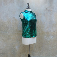 Vintage hand sequined top emerald green circa 1950s/ 50s party shirt/ medium large