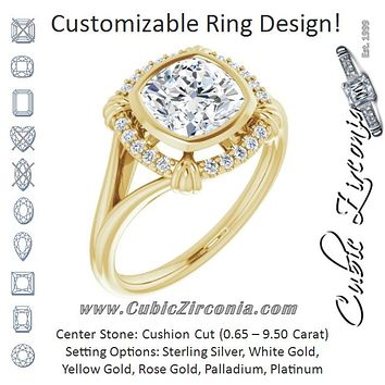 "Cubic Zirconia Engagement Ring- The Leontine (Customizable Cushion Cut Design with Split Band and ""Lion's Mane"" Halo)"
