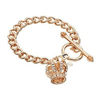 Juicy Couture Pave Gold Tone Crown Starter Charm Bracelet for Women or Teen Girls