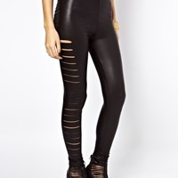 ASOS High Waist Leggings in Leather Look with Slash Detail at asos.com
