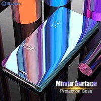 For Samsung A8 2018 Case Luxury Mirror Clear View Cover For Samsung Galaxy S8 S9 Plus S6 S7 Edge Note 8 9 A3 A5 A7 J3 J5 J7 2017