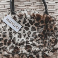 Let Me Know Furry Leopard Hand Bag