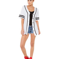 Chicago 88 Graphic Print Baseball Jersey Top in White
