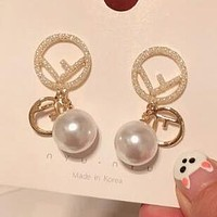 FENDI Trending Women Stylish F Letter Diamond Pearl Pendant Earrings Accessories Jewelry White