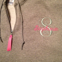 Monogrammed 1/4 Zip Hoodie with Front Pouch Pocket