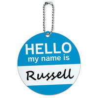 Russell Hello My Name Is Round ID Card Luggage Tag