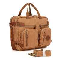 Vicenzo Flex Brown Canvas Leather Messenger Bag Briefcase Backpack