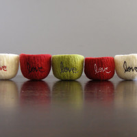"""custom tiny felted wool bowl with """"love"""" embroidered in cotton - ready in 2 weeks - stocking stuffer - gifts for friends - ring bowl"""