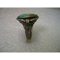 Vintage Sterling Silver Rustic Turquoise Bedouin/Bali/Ethnic Ring, size 8, Oval