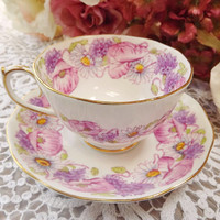Ambleside Vintage Bone China Teacup and Saucer from Roslyn - 1950s