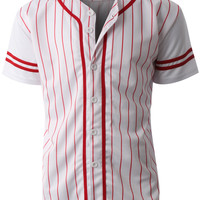 LE3NO Mens Striped Short Sleeve Button Down Baseball Jersey