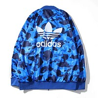 Adidas & Bape Aape Autumn And Winter Fashion New Bust And Leaf Letter Print Women Men Long Sleeve Coat Blue