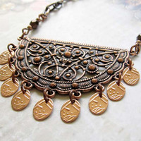 Bohemian crescent necklace Copper jewelry